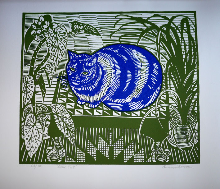 Richard Bawden linocut cat