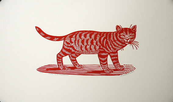 Richard Bawden original linocut cat