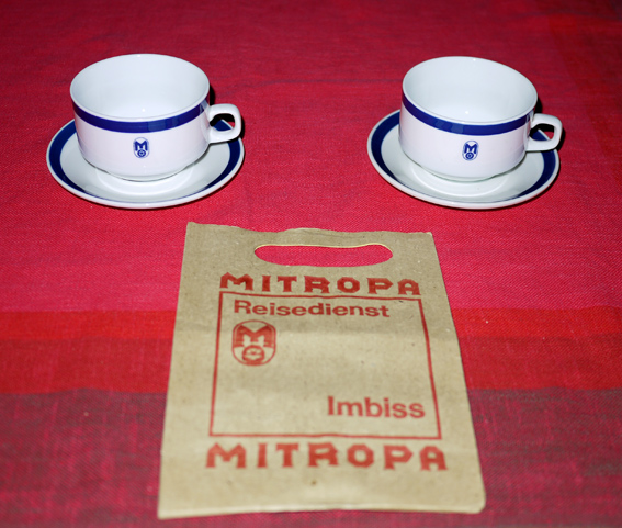 1960s GDR Mitropa restaurant ware cups and saucers