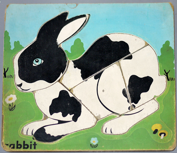 1950s wooden rabbit puzzle