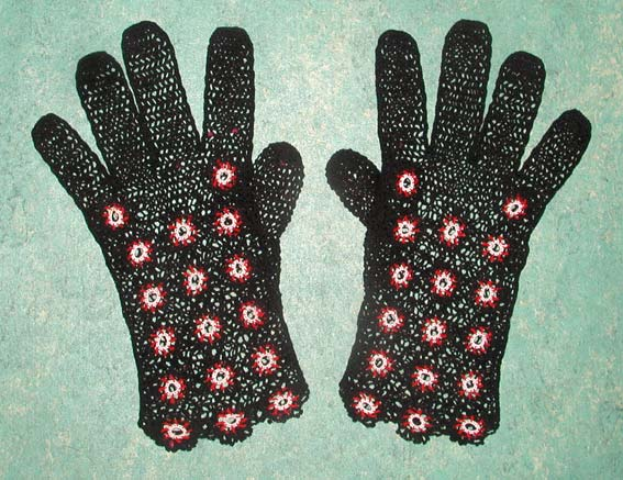 1930's crochet linen gloves