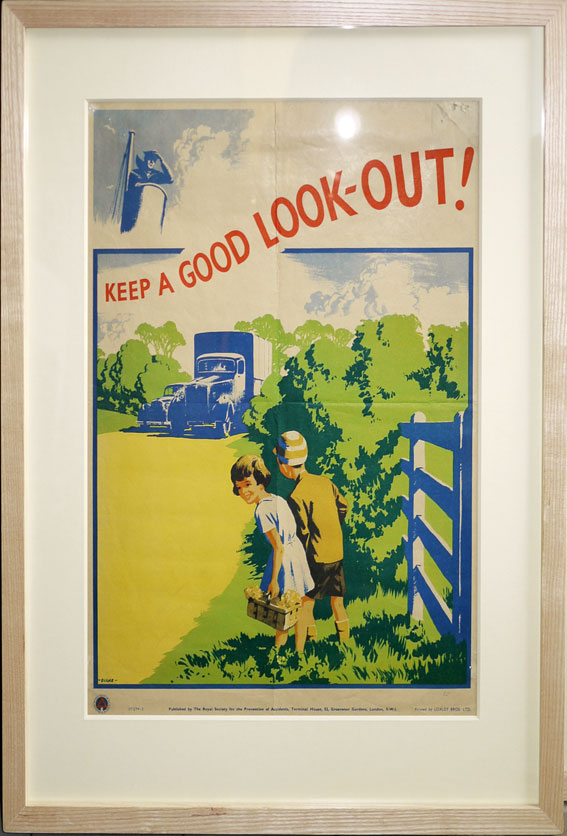 signed 1950s road safety poster