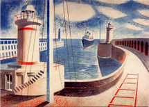 Newhaven Harbour Ravilious greetings card