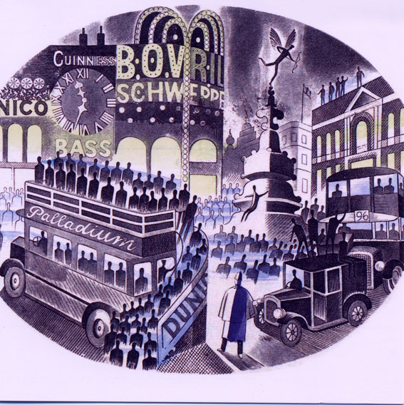 Picadilly Circus by Eric Ravilious greetings card