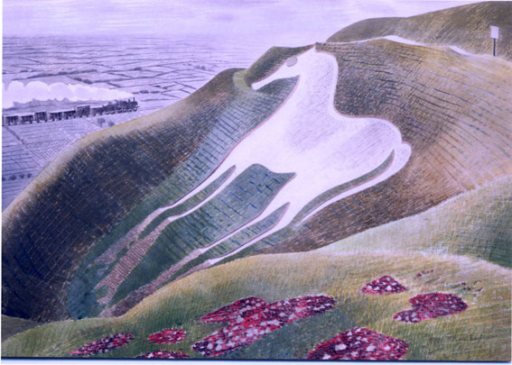 Westbury Horse by Ravilious greetings card