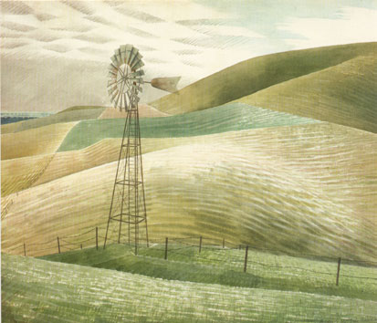 Ravilious Waterwheel greetings card