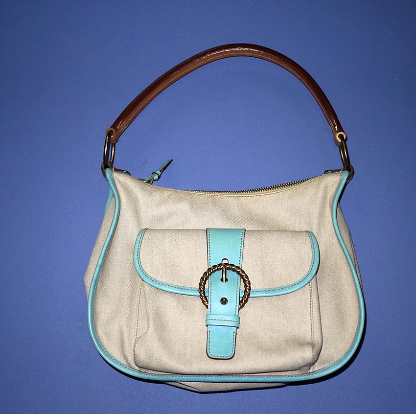 c978414e91d7 MIU MIU canvas and turquoise leather trim handbag
