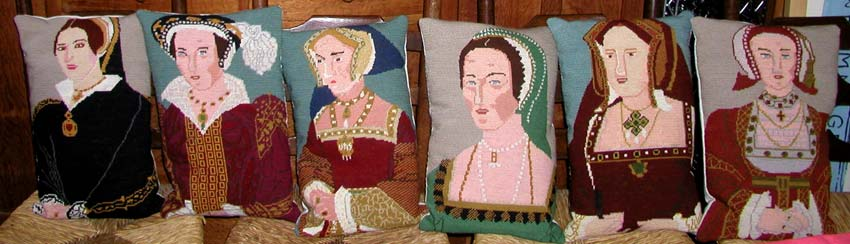 Tapestry cushions Henry Vlll wives