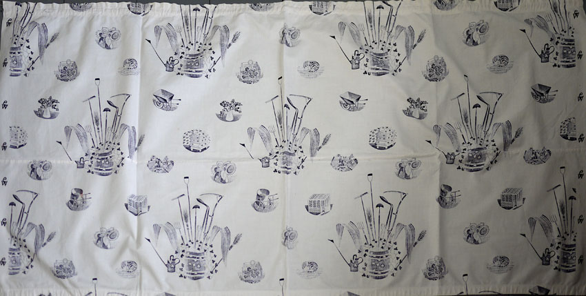 Ravilious garden implements printed fabric