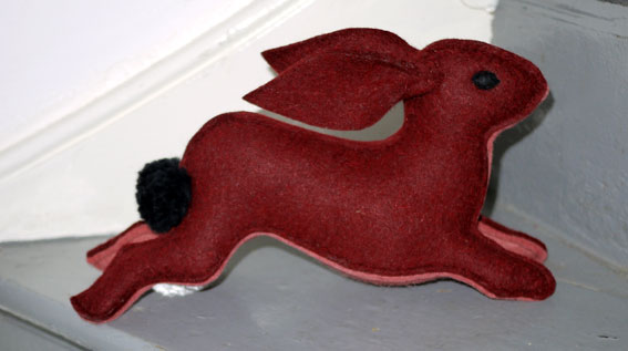 Stuffed hare 1940s felt