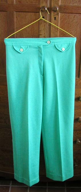 green nylon slacks