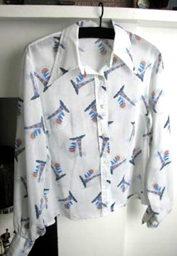 1970's lighthouse motif blouse