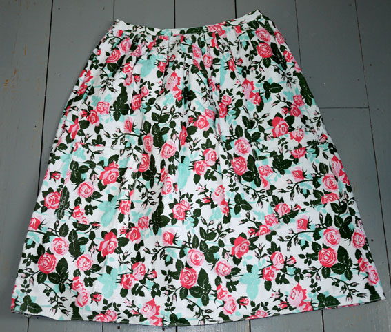 vintage rosebud fabric skirt
