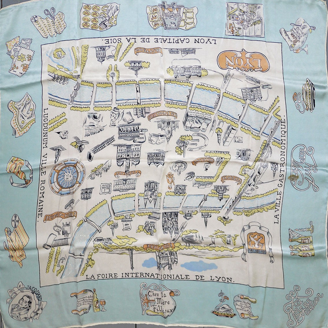 Map of lyon france glazed silk scarf early 1950s map of lyon france glazed silk scarf gumiabroncs Choice Image